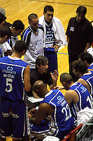 Wellington coach Doug Marty talks to the Saints during a timeout during the NBL Basketball match between Wellington Saints and Otago Nuggets at TSB Bank Arena, Wellington, New Zealand on Sunday, 30 March 2008. Photo: Dave Lintott / lintottphoto.co.nz