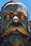 Large gold plated statue of the head of Don Venustiano Carranzo under repair.  Ensenada, Baja California. Mexico