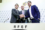 The coach of the national soccer team of Spain, Julen Lopetegui (l) with RFEF's President Luis Rubiales (c) and the General Manager Fernando Hierro, during the signing of the renewal of his contract until 2020. May 22,2018. (ALTERPHOTOS/Acero)