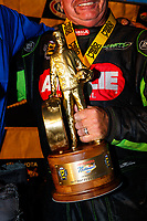 Oct 29, 2017; Las Vegas, NV, USA; Detailed view of the Wally trophy as NHRA top fuel driver Terry McMillen celebrates after winning the Toyota National at The Strip at Las Vegas Motor Speedway. Mandatory Credit: Mark J. Rebilas-USA TODAY Sports