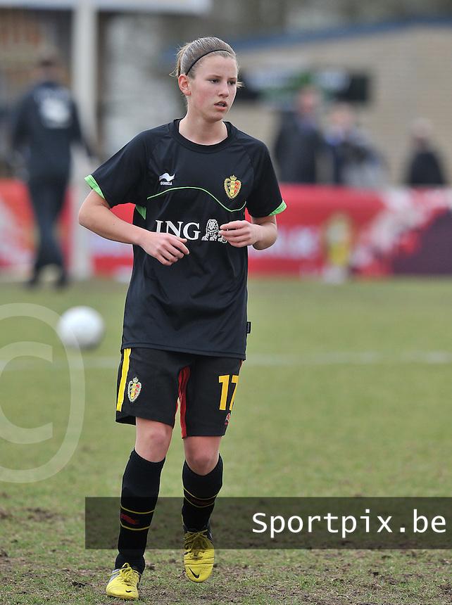 Denmark U17 - Belgium U17 : .Chloe Van Mingeroet.foto DAVID CATRY / Vrouwenteam.be