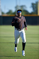 AZL Giants Black Jose Rivero (2) warms up before an Arizona League game against the AZL Angels at the Giants Baseball Complex on June 21, 2019 in Scottsdale, Arizona. AZL Angels defeated AZL Giants Black 6-3. (Zachary Lucy/Four Seam Images)