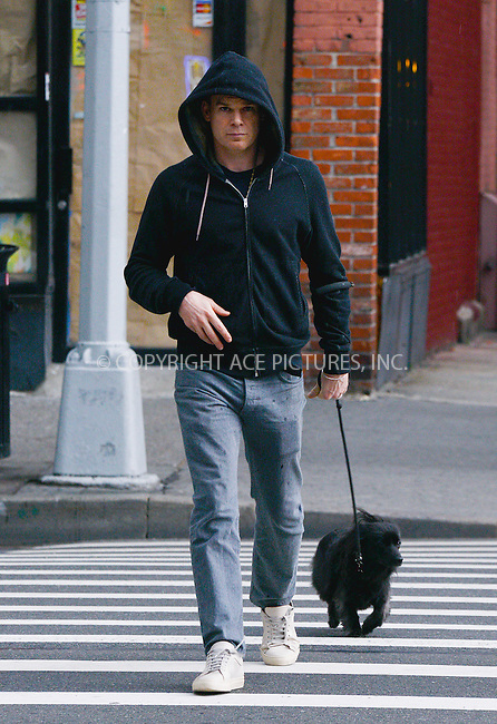 WWW.ACEPIXS.COM<br /> <br /> March 17 2016, New York City<br /> <br /> Actor Michael C Hall walks his dog in Manhattan on March 17 2016 in New York City<br /> <br /> By Line: Curtis Means/ACE Pictures<br /> <br /> <br /> ACE Pictures, Inc.<br /> tel: 646 769 0430<br /> Email: info@acepixs.com<br /> www.acepixs.com