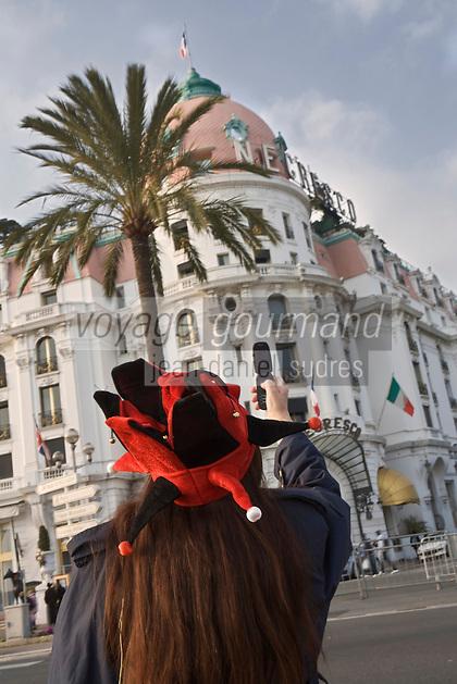 Europe/France/06/Alpes-Maritimes/Nice: Devant l' Hôtel Le Négresco lors du Carnaval de Nice