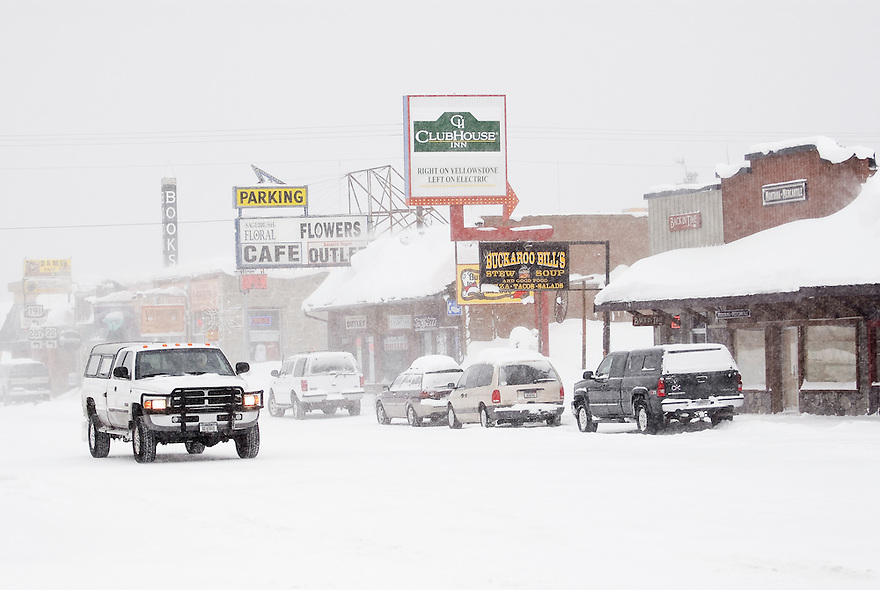 A snowstorm blows through West Yellowstone, Montana.