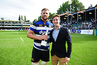 Man of the Match Dave Attwood poses with Louis Bruce of Bath Rugby and his Pol Roger bottle of champagne. Aviva Premiership match, between Bath Rugby and Newcastle Falcons on September 10, 2016 at the Recreation Ground in Bath, England. Photo by: Patrick Khachfe / Onside Images