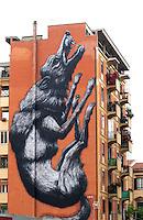 Un enorme murales nel quartiere di testaccio<br /> Roma 13-05-2014 Centro per l'impegno di Porta Futuro. Incontro 'Giovani al lavoro: youth guarantee in Italia'.<br /> Photo Samantha Zucchi Insidefoto
