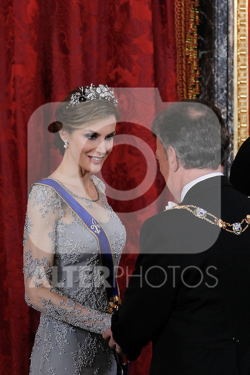 Spanish Royals host a dinner for the Colombian President Juan Manuel Santos and his wife Maria Clemencia Rodriguez in Madrid, Spain. In the pic: Queen Letizia of Spain and Juan Manuel Santos. March 02, 2015. (Jose Luis Cuesta/POOL/ALTERPHOTOS)