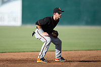 Delmarva Shorebirds shortstop Chris Clare (9) on defense against the Kannapolis Intimidators at Kannapolis Intimidators Stadium on July 2, 2017 in Kannapolis, North Carolina.  The Shorebirds defeated the Intimidators 5-4.  (Brian Westerholt/Four Seam Images)