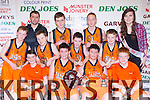 The Currow team that defeated Killorglin CYMS in the U14 boys final in the St Marys Basketball blitz at Castleisland Community Centre on Tuesday 30th December front row l-r: Daniel Kelly, Aaron and Padraig Fleming, Gary O'Sullivan. Back row: Conor Casey, Mike Cahill coach, Paul O'Connor, Mike Daly, Aaron O'Connor, Jonathan Healy, Luke O'Loughlin and Roisin Casey Miss Basketball