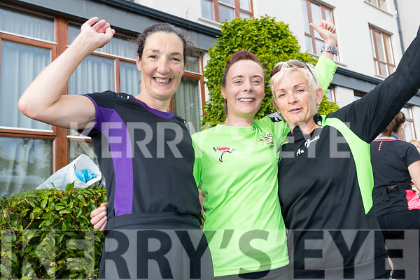 Sharon Cahill, Catherine O'Sullivan and Liz Heaslip (all from An Ríocht, Castleisland), who took part in the Rose of Tralee 10k at Tralee Bay Wetlands on Sunday morning.