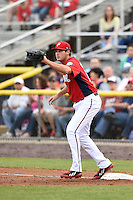Potomac Nationals first baseman Shawn Pleffner (17) waits for a throw during a game against the Lynchburg Hillcats on April 26, 2014 at Pfitzner Stadium in Woodbridge, Virginia.  Potomac defeated Lynchburg 6-2.  (Mike Janes/Four Seam Images)