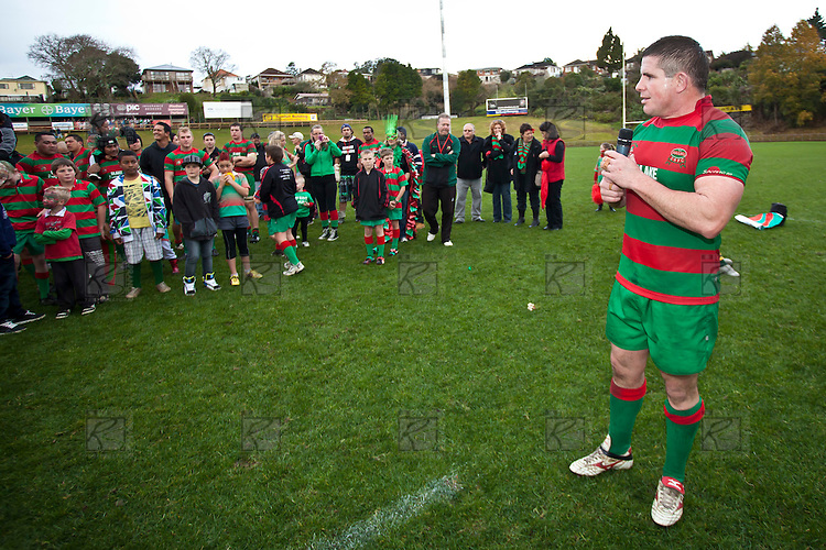 Victorious captain Grant Henson addresses his team and supporters at the conclusion of the game. Counties Manukau McNamara Cup Premier Club Rugby final between Pukekohe andWaiuku, held at Bayer Growers Stadium, on Saturday July 17th. Waiuku won 25 - 20.