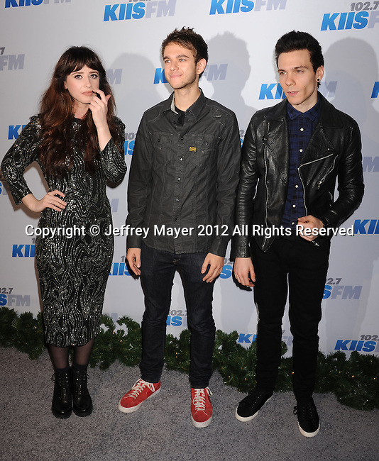 LOS ANGELES, CA - DECEMBER 03: Foxes, Zedd and Matthew Koma attend the KIIS FM's Jingle Ball 2012 held at Nokia Theatre LA Live on December 3, 2012 in Los Angeles, California.