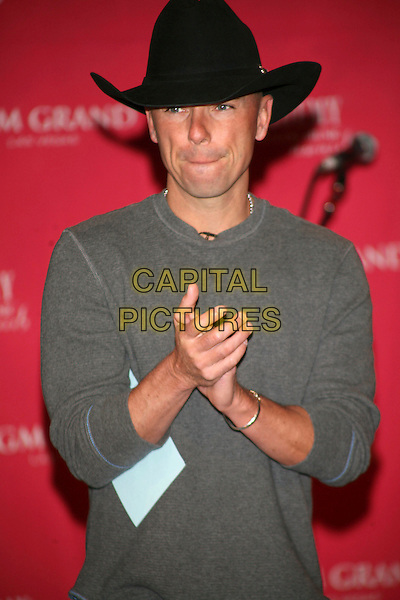 KENNY CHESNEY.announced the 42nd Annual Academy of Country Music Awards Nominees (ACM) held at the Country Music Hall of Fame, Nashville, Tennessee, USA,.5th March 2007..half length black cowboy hat hands clapping mouth.CAP/ADM/RR.©Randi Radcliff/AdMedia/Capital Pictures.