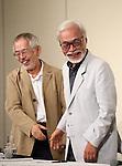 Toshio Suzuki, Hayao Miyazaki, Sep 06, 2013 :  director Hayao Miyazaki attends a press conference of his retirement from active work on 6 Sep 2013 Tokyo