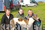 FINISHED: Torbo Time just finished his race with his masters at the Ballyheigue Coursing on Saturdayl-r: Patrick Madigan (Glin), Kate Browne (Ballyheigue) and Pat Maddigan (Glin)...................................................   Copyright Kerry's Eye 2008