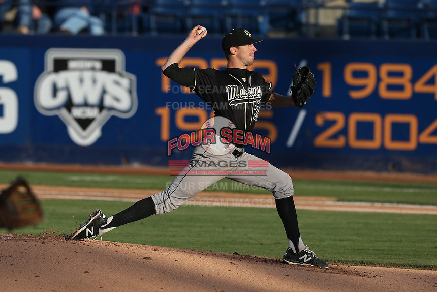 Casey Bloomquist (37) of the Cal Poly Mustangs pitches during a game against the Cal State Fullerton Titans at Goodwin Field on April 2, 2015 in Fullerton, California. Cal Poly defeated Cal State Fullerton, 5-0. (Larry Goren/Four Seam Images)