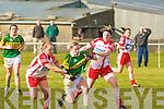 Kerry's Mairead Finnegan and Tyrone's l-r: Eimear Teague and Sinead McLaughlin..