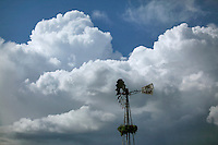 Clouds above USA windmill in Marion County, Oregon