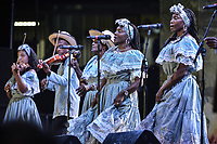 CALI - COLOMBIA. 14-08-2019: El grupo de músca autóctona Aires de Dominguillo hace su presentación durante el primer día del XXIII Festival de Música del Pacífico Petronio Alvarez 2019 el festival cultural afro más importante de Latinoamérica y se lleva acabo entre el 14 y el 19 de agosto de 2019 en la ciudad de Cali. / The group makes its performance of autochthonous music Aires de Dominguillo during the XXII Pacific Music Festival Petronio Alvarez 2019 that is the most important afro descendant cultural festival of Latin America and takes place between August 14 and 19, 2019, in Cali city. Photo: VizzorImage/ Gabriel Aponte / Staff
