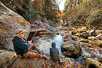 Fly fishing in a stream in the South Mountain State Park in Connelly Springs, North Carolina.