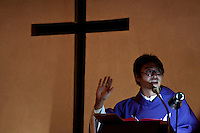 A Nikkei (Japanese Brazilian) priest gives a sermon at a Catholic Church in Hamamatsu, Japan March 21st 2009