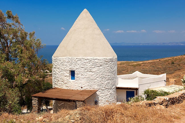 Old windmill at Koundouros, Kea, Greek Cyclades Islands