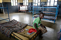 UGANDA, Kampala, Kampiringisa, national rehabilitation center, a juvenile-detention facility for children and young people, sleeping rooms / Jugendhaftanstalt und Rehabilitationszentrum Kampiringisa, Schlafsaal