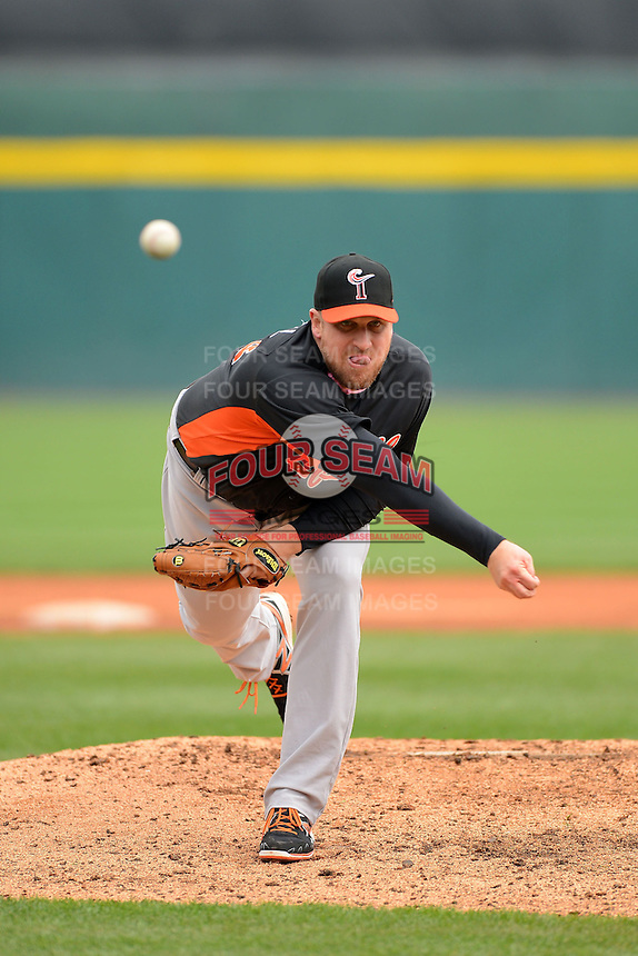 Norfolk Tides pitcher Adam Russell #58 during a game against the Buffalo Bisons on May 9, 2013 at Coca-Cola Field in Buffalo, New York.  Norfolk defeated Buffalo 7-1.  (Mike Janes/Four Seam Images)