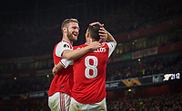 Shkodran Mustafi with goal scorer Dani Ceballos (on loan from Real Madrid) of Arsenal during the UEFA Europa League match between Arsenal and Standard Liege at the Emirates Stadium, London, England on 3 October 2019. Photo by Andrew Aleks.