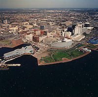 1994 March 24..Redevelopment.Downtown North (R-8)..High aerials downtown waterfront for Macarthur Center Study...NEG#.NRHA#..