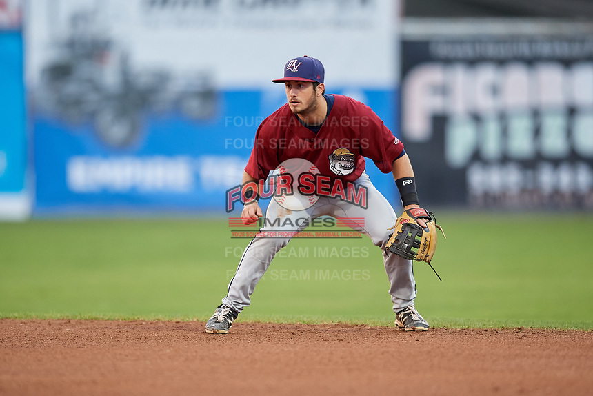 Mahoning Valley Scrappers second baseman Tyler Friis (34) during a game against the Batavia Muckdogs on August 29, 2017 at Dwyer Stadium in Batavia, New York.  Batavia defeated Mahoning Valley 2-0.  (Mike Janes/Four Seam Images)