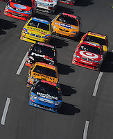 Oct 5, 2008; Talladega, AL, USA; NASCAR Sprint Cup Series driver Jamie McMurray (26) leads the field during the Amp Energy 500 at the Talladega Superspeedway. Mandatory Credit: Mark J. Rebilas-