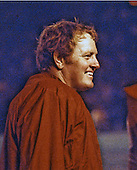 Washington Redskins quarterback Sonny Jurgensen (9) discusses strategy on the sidelines during a preseason game against the Buffalo Bills at RFK Stadium in Washington, D.C. on August 18, 1974.  The Bills won the game 16 - 15..Credit: Arnie Sachs / CNP