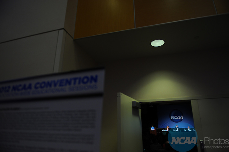 12 JAN 2012:  The NCAA educational session entitled Budgeting to Success held during the 2012 NCAA Convention held at the JW Marriott and Indianapolis Convention Center in Indianapolis, IN.  Joshua Duplechian/NCAA Photos.Pictured: Herb Reinhard, Tom Crowley, Tim Downes