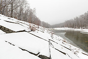The East Branch of the Pemigewasset River in Lincoln, New Hampshire USA after a light dusting of snow during the autumn months