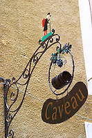 wine shop wrought iron sign gigondas rhone france