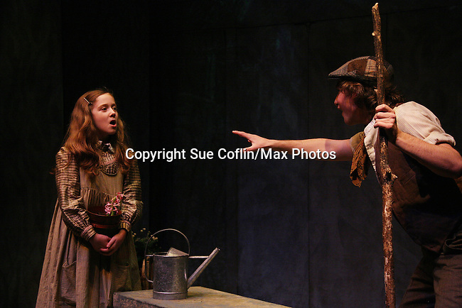 """Isabella Convertino & Zach Fineblum as Philipstown Depot Theatre presents The Secret Garden on November 15, 2009 in Garrison, New York. The musical The Secret Garden is the story of """"Mary Lennox"""", a rich spoiled child who finds herself suddenly an orphan when cholera wipes out the entire Indian village where she was living with her parents. She is sent to live in England with her only surviving relative, an uncle who has lived an unhappy life since the death of his wife 10 years ago. """"Archibald's son Colin"""", has been ignored by his father who sees Colin only as the cause of his wife's death.This is essentially the story of three lost, unhappy souls who, together, learn how to live again while bringing Colin's mother's garden back to life. (Photo by Sue Coflin/Max Photos)........"""