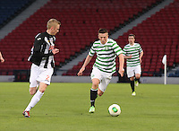 Callum McGregor runs at Ross Millenin the Dunfermline Athletic v Celtic Scottish Football Association Youth Cup Final match played at Hampden Park, Glasgow on 1.5.13. .