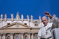 Pope Francis during of a weekly general audience at St Peter's square in Vatican. on September 14, 2016.