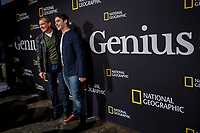 NEW YORK CITY - APRIL 19: Antonio Banderas and Alex Rich attend the GENIUS: PICASSO interactive experience at the Genius: Studio, 100 Avenue of the Americas in New York City on April 19, 2018.  The Genius: Studio is an interactive installation designed to inspire people to create their own masterpieces. (Photo by Kena Betancur/National Geographic/PictureGroup)