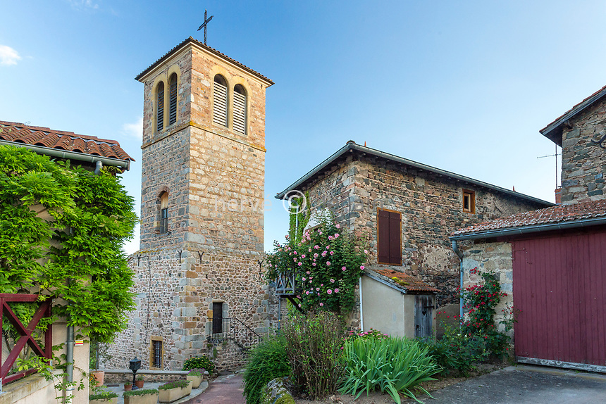 France, Loire (42), Saint-Jean-Saint-Maurice-sur-Loire, rue du village et clocher de l'église