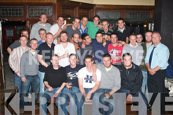 0309-0312.---------.Emigrating.----------.Seated front are L-R Gerard Mannix(Tralee)Aiden Lawlor(Ballyduff)Andy Hartnett(Tralee)Michael Martin(Tralee)and Andy O'Brien(Tralee)were given a great going away party organised by their buddies in the AbbeyGate Hotel,Main St,Tralee last Saturday night as all five are heading for Austrilia in the near future.