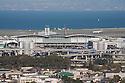 San Francisco International Airport (SFO) and the San Francisco Bay, viewed from Junipero Serra Park in San Bruno. San Francisco, California, USA