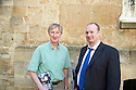 Edmund Newell, Sub Dean of Christchurch With John Reynolds, Investment Banker writers of the book Ethics in Investment Banking  at The Oxford Literary Festival at Christchurch College Oxford  . Credit Geraint Lewis