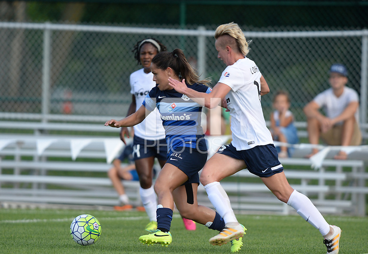 Kansas City, MO - Saturday July 16, 2016: Lo'eau LaBonta, Joanna Lohman during a regular season National Women's Soccer League (NWSL) match between FC Kansas City and the Washington Spirit at Swope Soccer Village.
