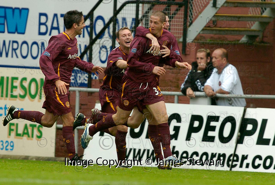 23/09/2006       Copyright Pic: James Stewart.File Name :sct_jspa12_dundee_utd_v_motherwell.CALUM ELLIOT CELEBRATES AFTER SCORING THE OPENER FOR MOTHERWELL......Payments to :.James Stewart Photo Agency 19 Carronlea Drive, Falkirk. FK2 8DN      Vat Reg No. 607 6932 25.Office     : +44 (0)1324 570906     .Mobile   : +44 (0)7721 416997.Fax         : +44 (0)1324 570906.E-mail  :  jim@jspa.co.uk.If you require further information then contact Jim Stewart on any of the numbers above.........