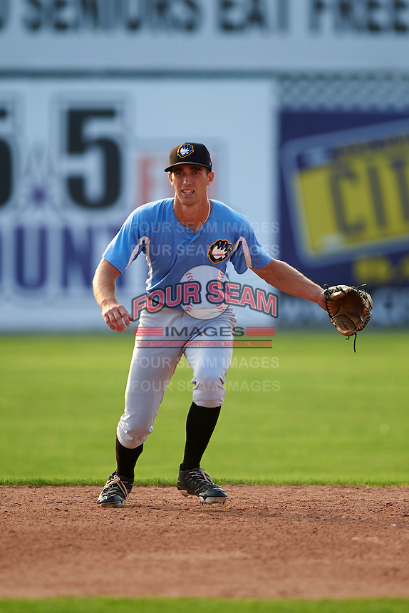 West Virginia Black Bears shortstop Erik Forgione (7) during practice before a game against the Batavia Muckdogs on August 31, 2015 at Dwyer Stadium in Batavia, New York.  Batavia defeated West Virginia 5-4.  (Mike Janes/Four Seam Images)