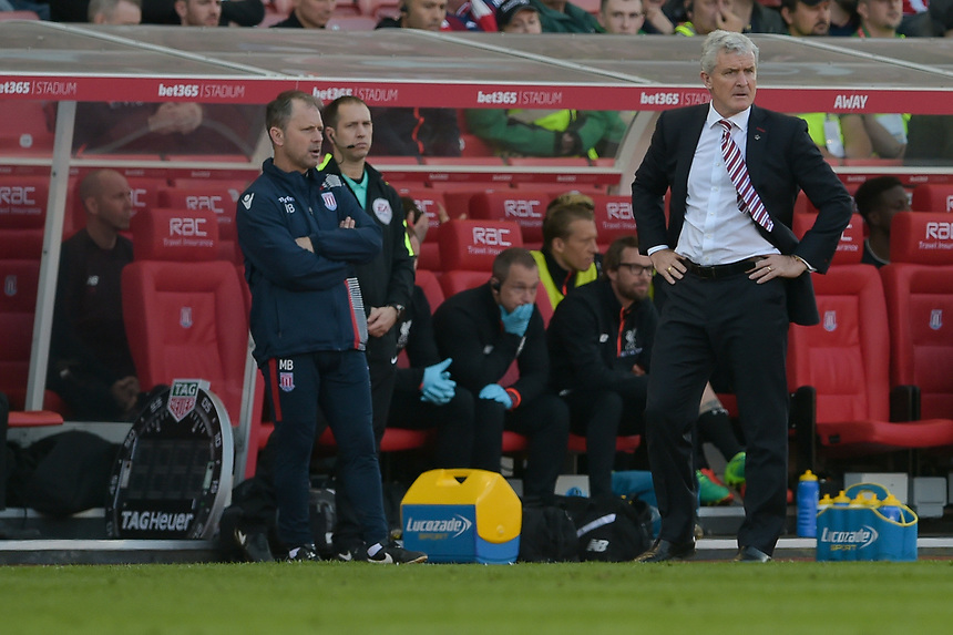 Stoke City manager Mark Hughes <br /> <br /> Photographer Terry Donnelly/CameraSport<br /> <br /> The Premier League - Stoke City v Liverpool - Saturday 8th April 2017 - bet365 Stadium - Stoke-on-Trent<br /> <br /> World Copyright &copy; 2017 CameraSport. All rights reserved. 43 Linden Ave. Countesthorpe. Leicester. England. LE8 5PG - Tel: +44 (0) 116 277 4147 - admin@camerasport.com - www.camerasport.com